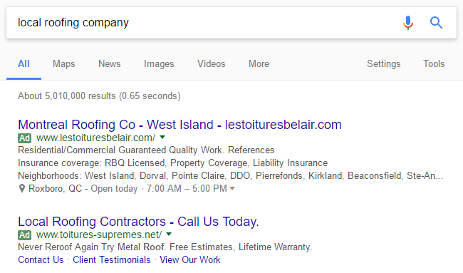 local roofing company adwords