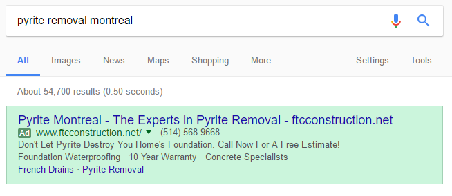 local adwords ad example