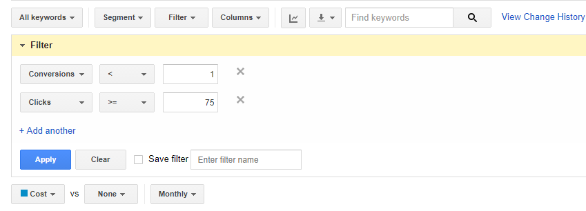 Filter Keywords Screenshot