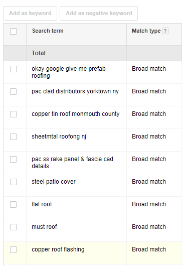 Metal Roof Search Terms Screenshot