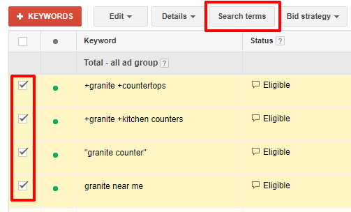Search Terms Screenshot