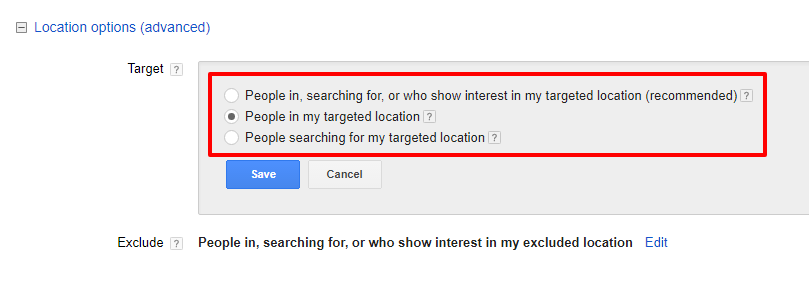 AdWords Targeting Screenshot