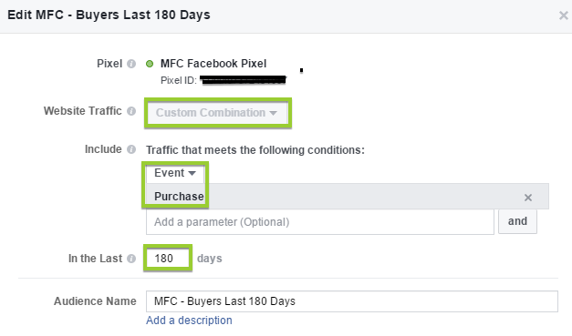 facebook custom audience purchases last 180 days