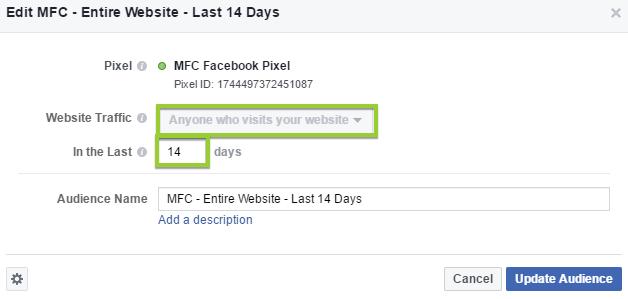 facebok custom audience of website visitors
