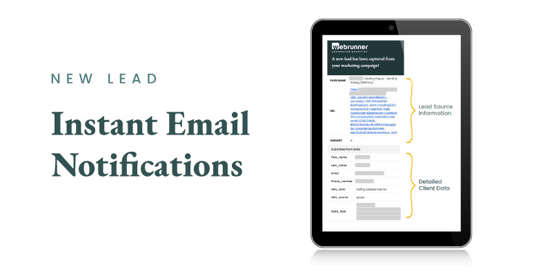 Email lead notifications for contractors marketing campaigns